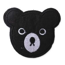 BLACK BEAR HEAD MOTIF IRON ON EMBROIDERED PATCH APPLIQUE